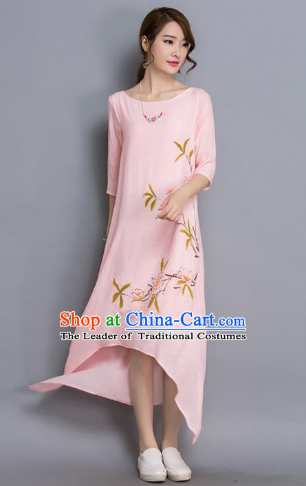 Traditional Ancient Chinese National Costume, Elegant Hanfu Linen Printing Irregularity Pink Dress, China Tang Suit Cheongsam Upper Outer Garment Elegant Dress Clothing for Women