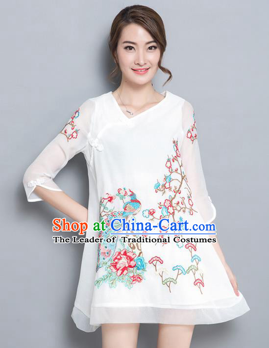 Traditional Ancient Chinese National Costume, Elegant Hanfu Organza Embroidered Peacock Short Dress, China Tang Suit Cheongsam Upper Outer Garment Elegant Dress Clothing for Women