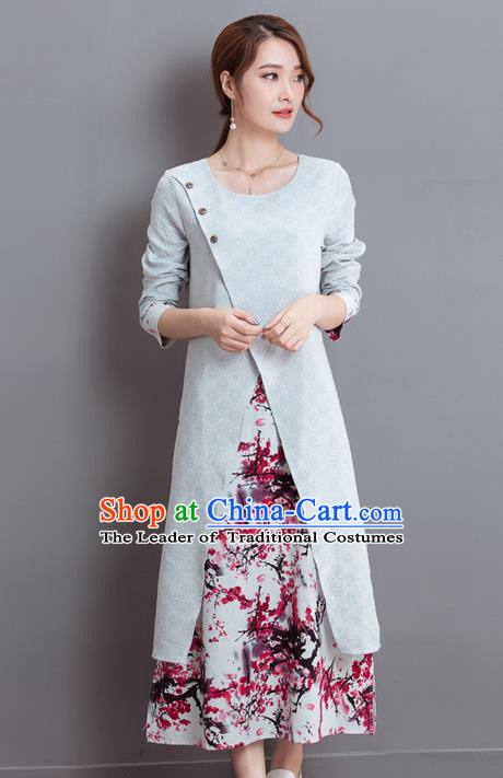 Traditional Ancient Chinese National Costume, Elegant Hanfu Round Collar Qipao Dress, China Tang Suit Cheongsam Upper Outer Garment Elegant Dress Clothing for Women