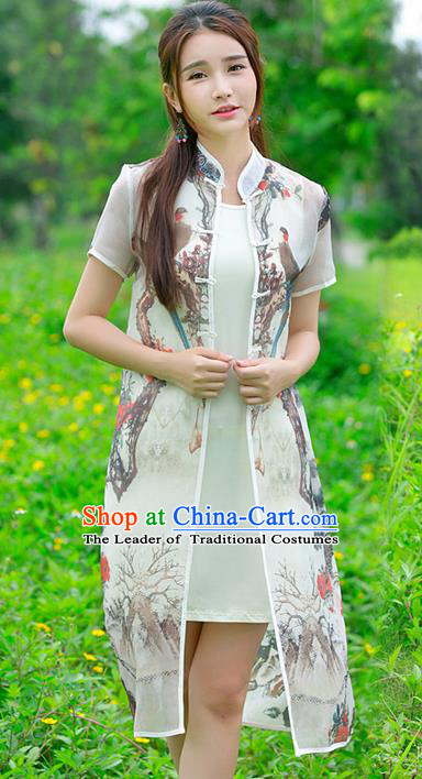 Traditional Ancient Chinese National Costume, Elegant Hanfu Cardigan Coat, China Tang Suit Plated Buttons Painting Birds Cape, Upper Outer Garment Dust Coat Cloak Clothing for Women