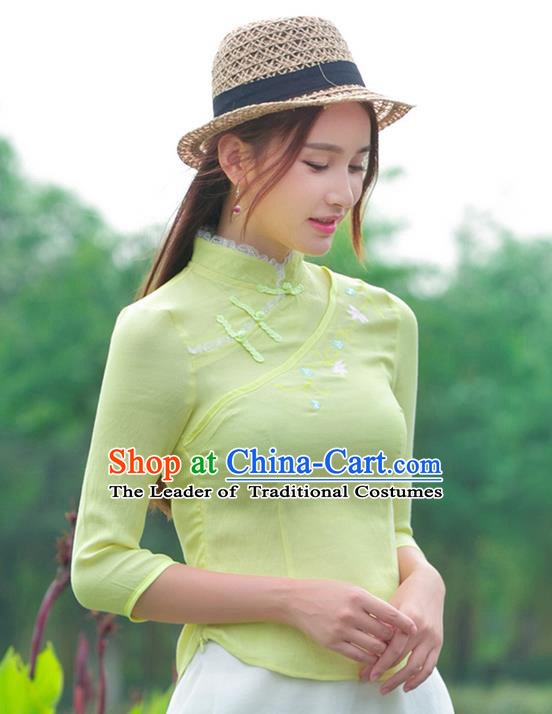 Traditional Ancient Chinese National Costume, Elegant Hanfu Embroidered Flowers Yellow Shirt, China Tang Suit Mandarin Collar Blouse Cheongsam Qipao Shirts Clothing for Women