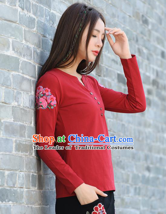 Traditional Ancient Chinese National Costume, Elegant Hanfu Embroidered Flowers T-Shirt, China Tang Suit Long Sleeve Blouse Cheongsam Qipao Shirts Clothing for Women