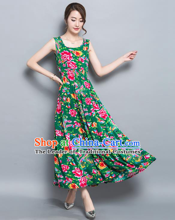 Traditional Ancient Chinese National Costume, Elegant Hanfu North East Style Peony Flowers Dress, China Tang Suit Sleeveless Vest Long Skirt Upper Outer Garment Elegant Green Dress Clothing for Women