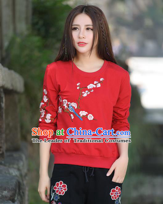 Traditional Ancient Chinese National Costume, Elegant Hanfu Embroidery Flowers Bird Fleece Shirt, China Tang Suit Blouse Cheongsam Upper Outer Garment Red T-Shirts Clothing for Women