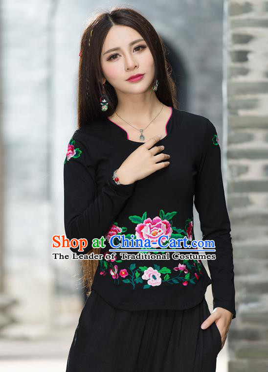 Traditional Ancient Chinese National Costume, Elegant Hanfu Embroidery Peony Flowers T-Shirt, China Tang Suit Blouse Cheongsam Upper Outer Garment Black T-Shirts Clothing for Women
