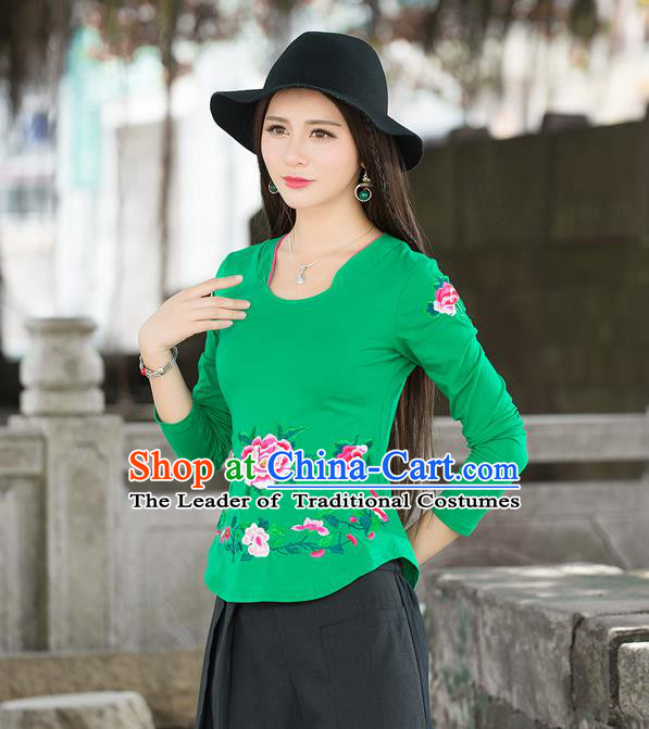 Traditional Ancient Chinese National Costume, Elegant Hanfu Embroidery Peony Flowers T-Shirt, China Tang Suit Blouse Cheongsam Upper Outer Garment Green T-Shirts Clothing for Women