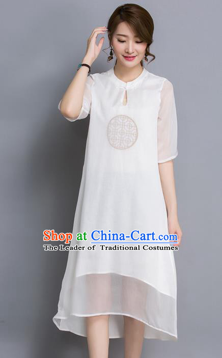 Traditional Ancient Chinese National Costume, Elegant Hanfu Organza Round Collar Qipao Dress, China Tang Suit Embroidered Cheongsam Upper Outer Garment Elegant Dress Clothing for Women