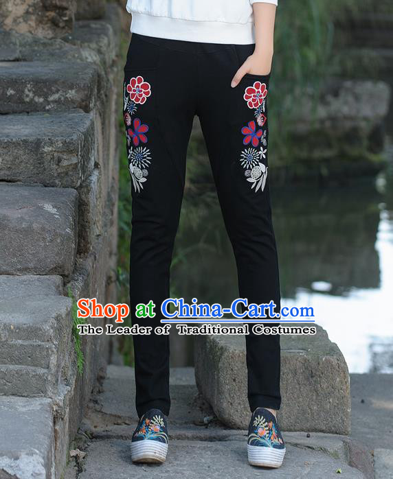 Traditional Ancient Chinese National Costume Casual Pants, Elegant Hanfu Embroidered Pants, China Tang Suit Black Trousers for Women