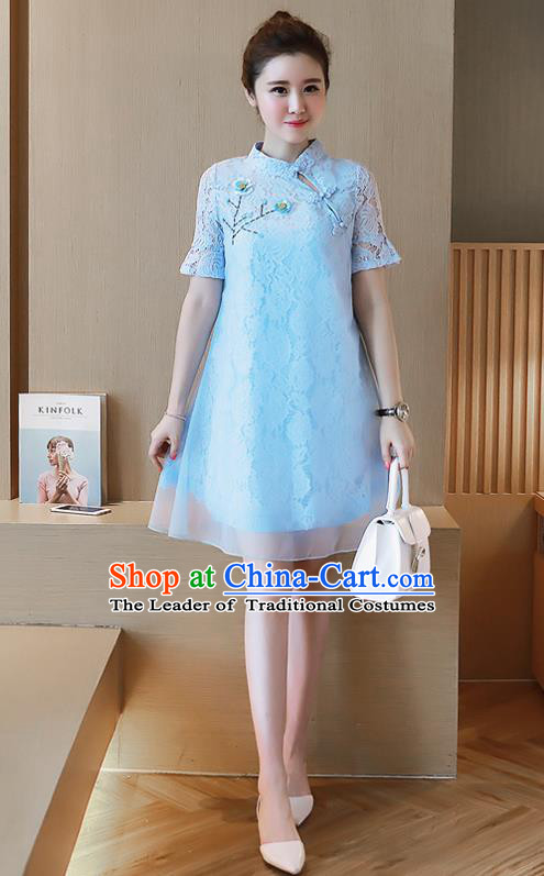 Traditional Ancient Chinese National Costume, Elegant Hanfu Organza Stand Collar Qipao Embroidered Dress, China Tang Suit Cheongsam Upper Outer Garment Elegant Blue Short Dress Clothing for Women