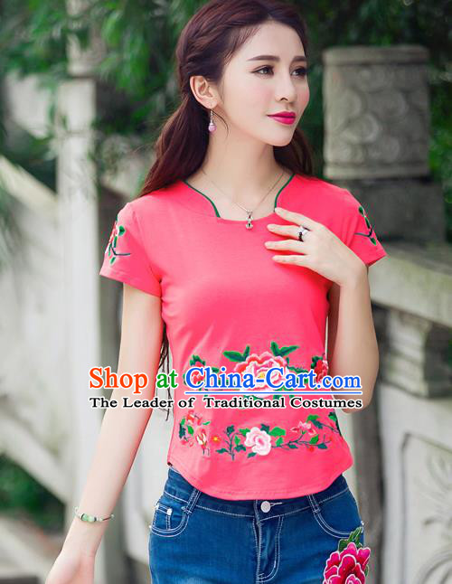 Traditional Ancient Chinese National Costume, Elegant Hanfu Embroidered Peony Flowers Mandarin Collar T-Shirt, China Tang Suit Red Blouse Cheongsam Qipao Shirts Clothing for Women