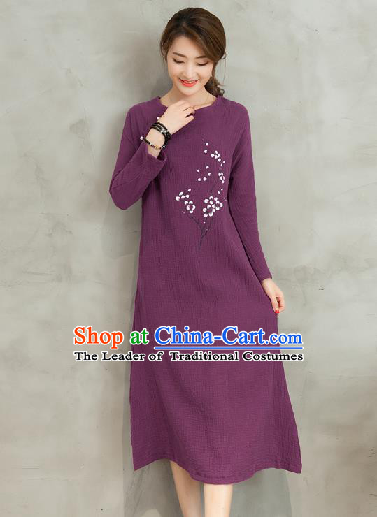 Traditional Ancient Chinese National Costume, Elegant Hanfu Printing Flowers Linen Qipao Dress, China Tang Suit Purple Cheongsam Skirt Upper Outer Garment Elegant Dress Clothing for Women