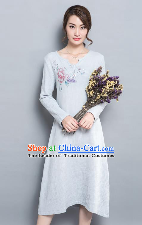 Traditional Ancient Chinese National Costume, Elegant Hanfu Printing Dress, China Tang Suit Cheongsam Upper Outer Garment Elegant Grey Dress Clothing for Women