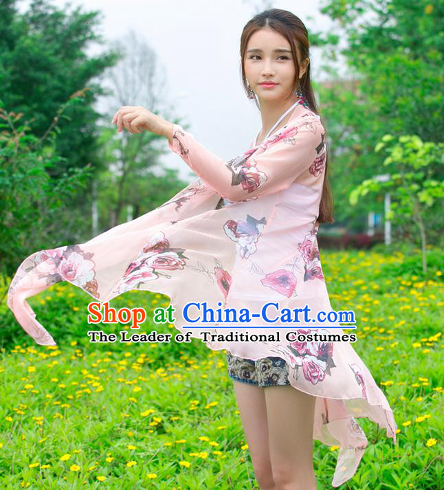Traditional Ancient Chinese National Costume, Elegant Hanfu Cardigan Coat, China Tang Suit Printing Cape, Upper Outer Garment Cloak Clothing for Women