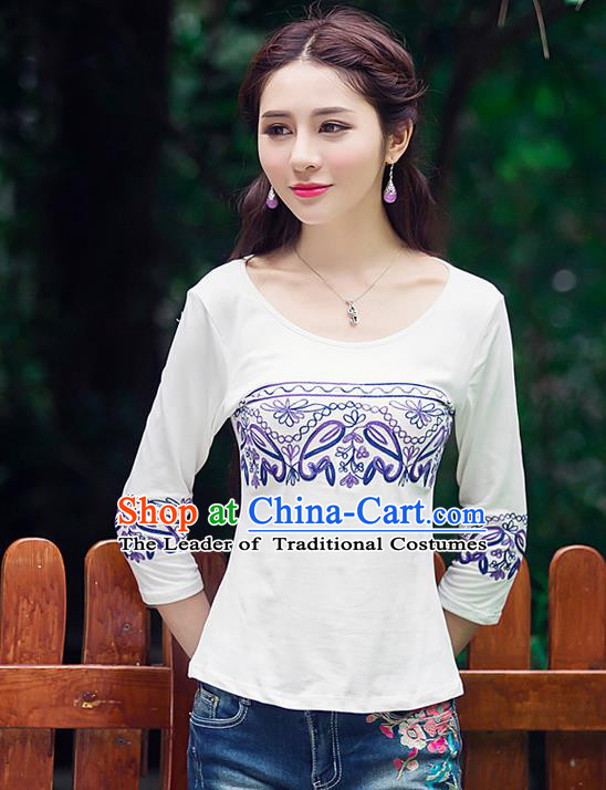 Traditional Ancient Chinese National Costume, Elegant Hanfu Embroidered Blue and White Flowers T-Shirt, China Tang Suit Round Collar Blouse Cheongsam Qipao Shirts Clothing for Women