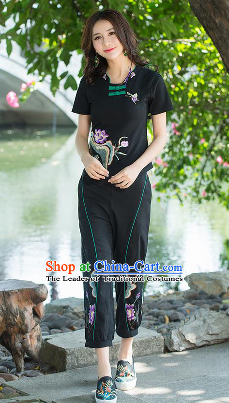 Traditional Ancient Chinese National Costume, Elegant Hanfu Embroidered Lotus Flowers Base Shirt, China Tang Suit Plated Buttons Black Blouse Cheongsam Qipao Shirts Clothing for Women