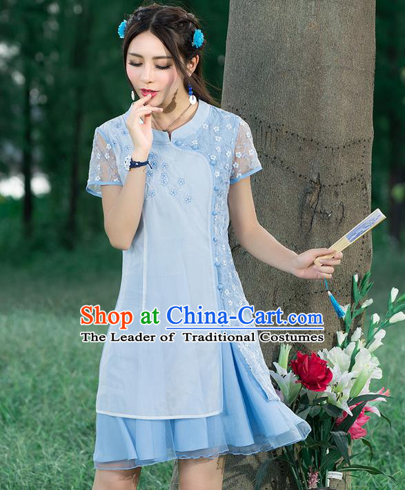 Traditional Ancient Chinese National Costume, Elegant Hanfu Dress, China Tang Suit Cheongsam Upper Outer Garment Elegant Lace Dress Clothing for Women