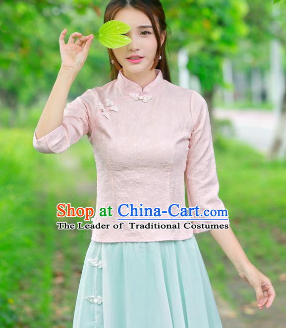Traditional Ancient Chinese National Costume, Elegant Hanfu Embroidered Pink Shirt, China Tang Suit Mandarin Collar Blouse Cheongsam Qipao Shirts Clothing for Women
