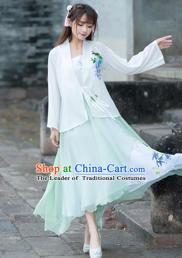 Traditional Ancient Chinese National Costume, Elegant Hanfu Printing Chiffon White Shirt, China Ming Dynasty Tang Suit Blouse Cheongsam Qipao Shirts Clothing for Women