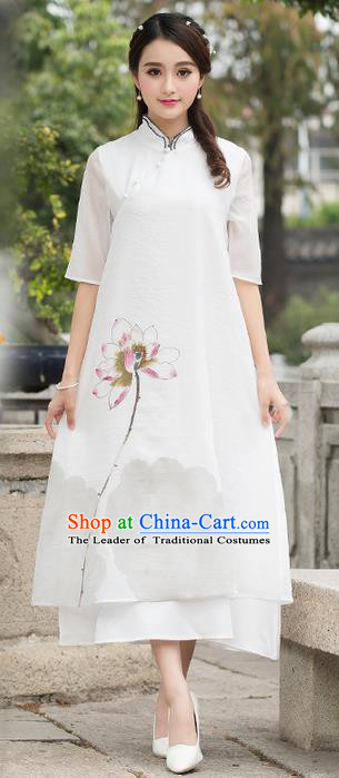 Traditional Ancient Chinese National Costume, Elegant Hanfu Mandarin Qipao Chiffon Hand Painting Lotus Dress, China Tang Suit Cheongsam Upper Outer Garment Elegant Dress Clothing for Women