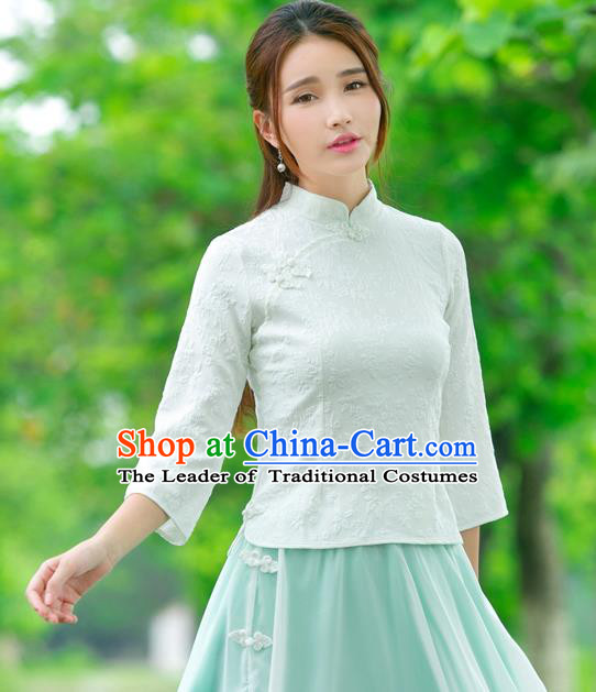 Traditional Ancient Chinese National Costume, Elegant Hanfu Embroidered White Shirt, China Tang Suit Mandarin Collar Blouse Cheongsam Qipao Shirts Clothing for Women