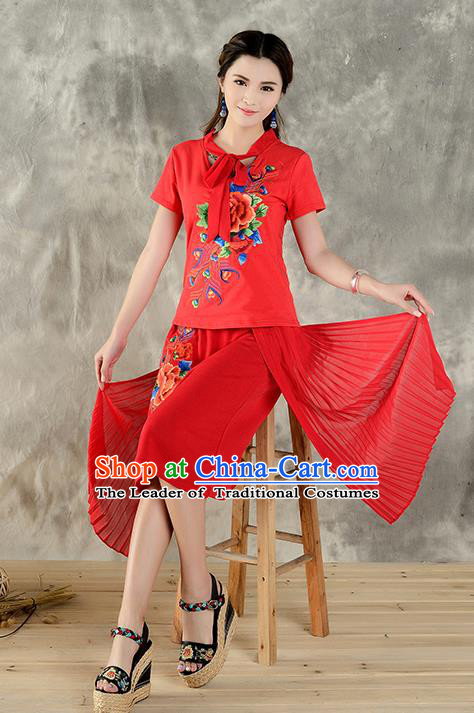Traditional Ancient Chinese National Costume, Elegant Hanfu Embroidered Peony Halter Tops Red T-Shirt, China Tang Suit Short Sleeve Blouse Cheongsam Qipao Shirts Clothing for Women