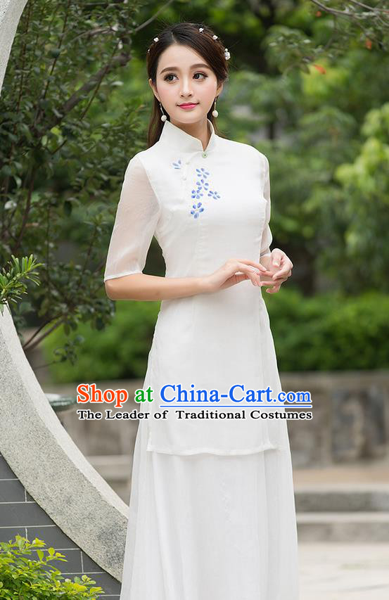 Traditional Ancient Chinese National Costume, Elegant Hanfu Mandarin Collar Qipao Printing Plum Blossom Dress, China Tang Suit Cheongsam Upper Outer Garment Elegant Dress Clothing for Women