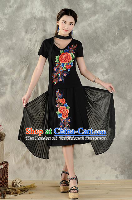 Traditional Ancient Chinese National Costume, Elegant Hanfu Embroidered Peony Halter Tops Black T-Shirt, China Tang Suit Short Sleeve Blouse Cheongsam Qipao Shirts Clothing for Women