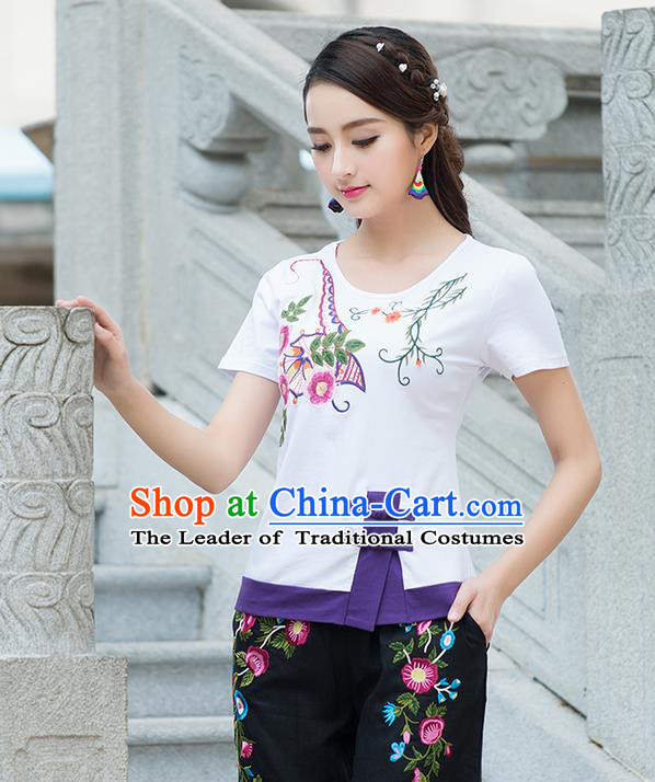 Traditional Chinese National Costume, Elegant Hanfu Embroidered Round Collar T-Shirt, China Tang Suit White Blouse Cheongsam Qipao Shirts Clothing for Women