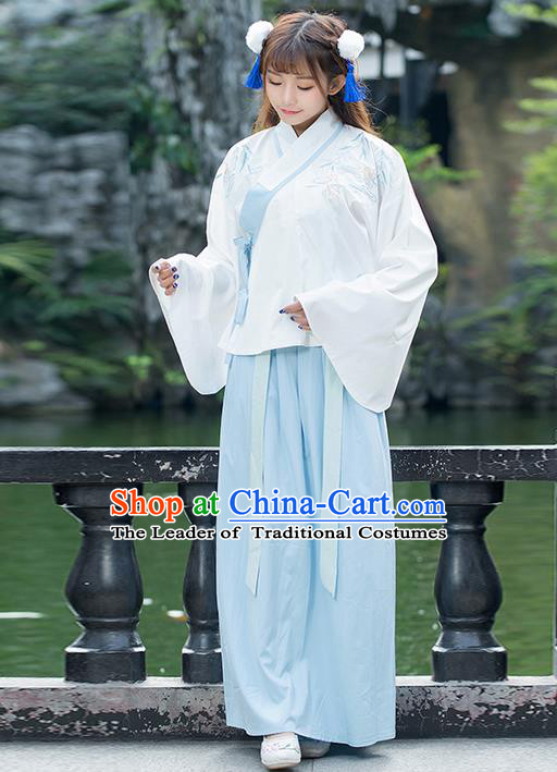 Traditional Chinese Ancient Costume, Elegant Hanfu Clothing Embroidered Sleeve Placket Blouse and Dress, China Ming Dynasty Elegant Blue Blouse and Skirt Complete Set for Women