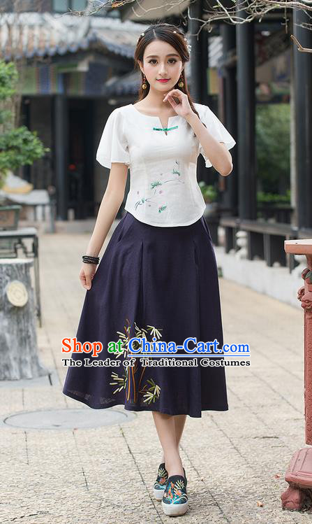 Traditional Ancient Chinese National Costume, Elegant Hanfu Linen Round Collar Shirt, China Tang Suit Mandarin Sleeve Blouse Cheongsam Qipao White Shirts Clothing for Women