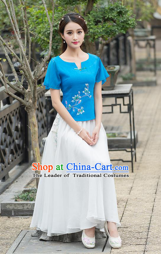 Traditional Ancient Chinese National Costume, Elegant Hanfu Round Collar Shirt, China Tang Suit Mandarin Sleeve Blouse Cheongsam Qipao Blue Shirts Clothing for Women
