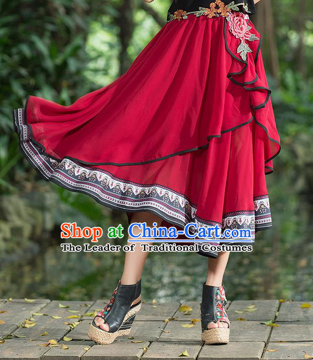 Traditional Ancient Chinese National Costume Pleated Skirt, Elegant Hanfu Embroidered Big Swing Dress, China Tang Suit Bust Skirt for Women