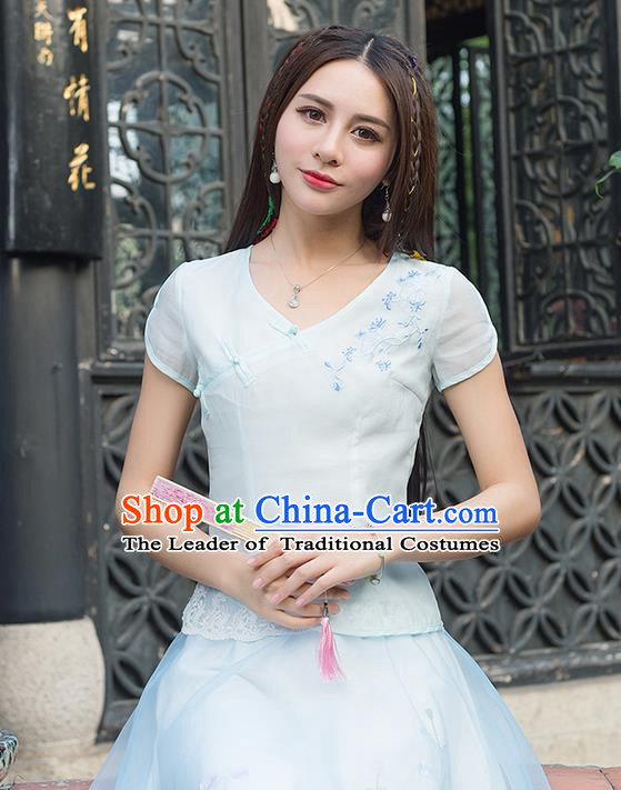 Traditional Ancient Chinese National Costume, Elegant Hanfu Embroidered Lace Edge Shirt, China Tang Suit Mandarin Collar Blouse Cheongsam Qipao Shirts Clothing for Women