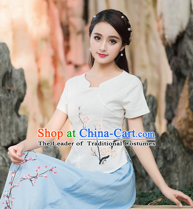 Traditional Chinese National Costume, Elegant Hanfu Embroidered Peach Blossom Flowers White T-Shirt, China Tang Suit Blouse Cheongsam Qipao Shirts Clothing for Women