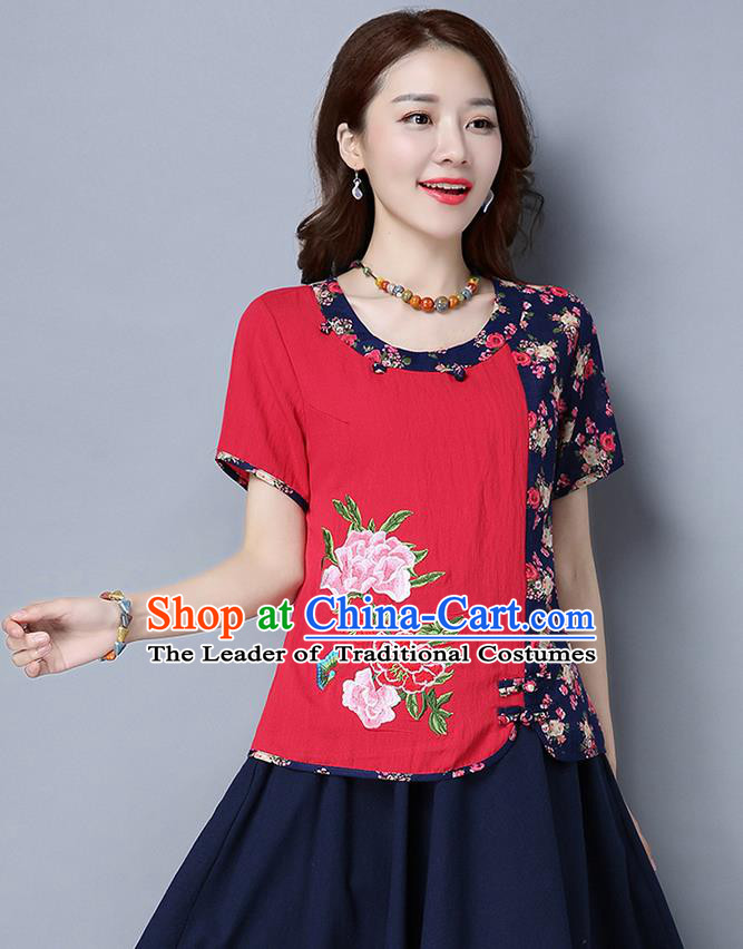 Traditional Chinese National Costume, Elegant Hanfu Multicolor Round Collar T-Shirt, China Tang Suit Red Blouse Cheongsam Qipao Shirts Clothing for Women
