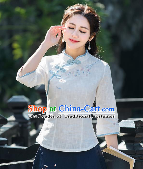 Traditional Ancient Chinese National Costume, Elegant Hanfu Embroidered Shirt, China Tang Suit Mandarin Collar Blouse Cheongsam Qipao Shirts Clothing for Women