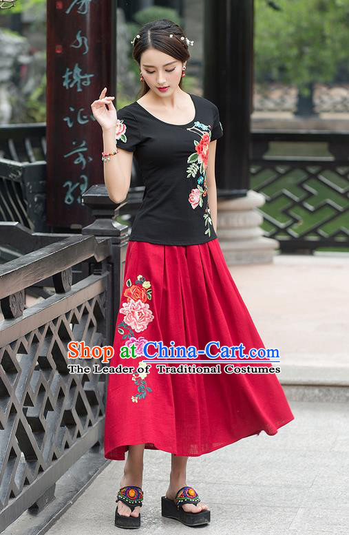Traditional Ancient Chinese National Costume, Elegant Hanfu Embroidered Peony Black T-Shirt, China Tang Suit Blouse Cheongsam Qipao Shirts Clothing for Women