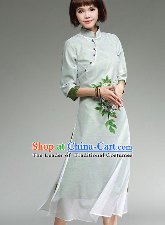 Traditional Ancient Chinese National Costume, Elegant Hanfu Mandarin Qipao Linen Hand Painting Dress, China Tang Suit Cheongsam Upper Outer Garment Elegant Dress Clothing for Women