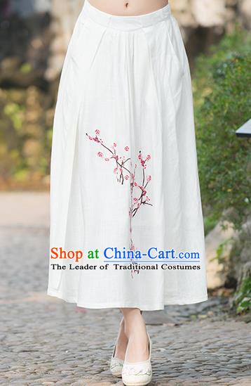 Traditional Ancient Chinese National Costume Pleated Skirt, Elegant Hanfu Embroidered Plum Blossom Linen White Dress, China Tang Suit Bust Skirt for Women