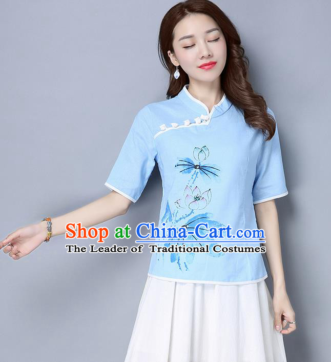 Traditional Ancient Chinese National Costume, Elegant Hanfu Stand Collar Painting Lotus Blue Shirt, China Tang Suit Mandarin Collar Blouse Cheongsam Qipao Shirts Clothing for Women