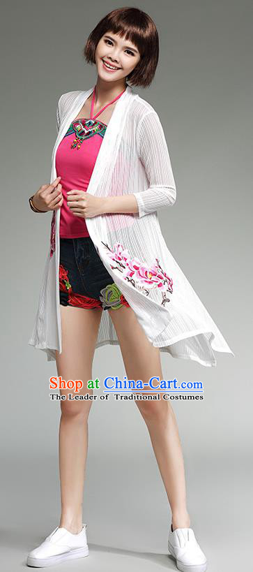 Traditional Ancient Chinese National Costume, Elegant Hanfu Embroidered Cardigan Coat, China Tang Suit Embroidered Cape, Upper Outer Garment Dust Coat Cloak Clothing for Women