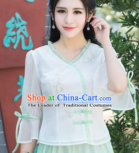 Traditional Ancient Chinese National Costume, Elegant Hanfu Chiffon Embroidered Shirt, China Tang Suit Mandarin Sleeve Blouse Cheongsam Qipao Shirts Clothing for Women