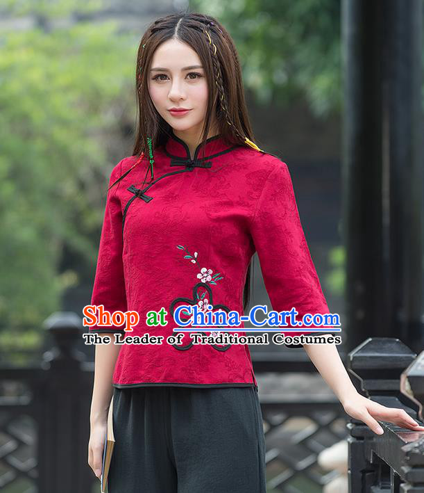 Traditional Ancient Chinese National Costume, Elegant Hanfu Jacquard Weave Slant Opening Red Shirt, China Tang Suit Blouse Cheongsam Qipao Shirts Clothing for Women