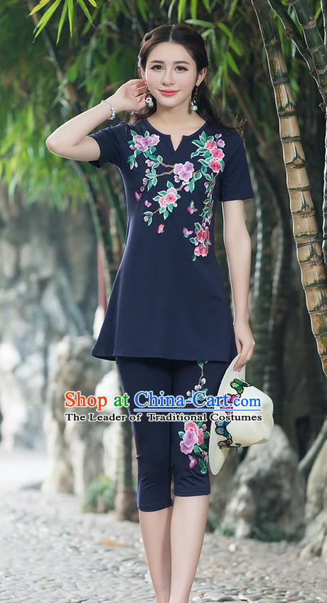 Traditional Chinese National Costume, Elegant Hanfu Embroidery Peach Blossom Flowers Navy T-Shirt, China Tang Suit Blouse Cheongsam Upper Outer Garment Qipao Shirts Clothing for Women