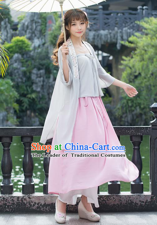Traditional Chinese Ancient Costume, Elegant Hanfu Clothing Embroidered Sun-Top Cardigan and Dress, China Ming Dynasty Elegant Blouse and Skirt Complete Set for Women