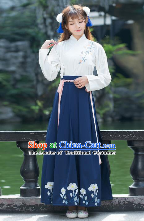 Traditional Ancient Chinese Costume, Elegant Hanfu Clothing Embroidered Slant Opening Blouse and Dress, China Ming Dynasty Elegant Blouse and Skirt Complete Set for Women