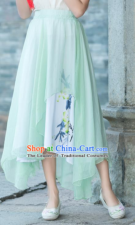 Traditional Chinese National Costume Pleated Skirt, Elegant Hanfu Printing Chiffon Green Half Dress, China Tang Suit Bust Skirt for Women