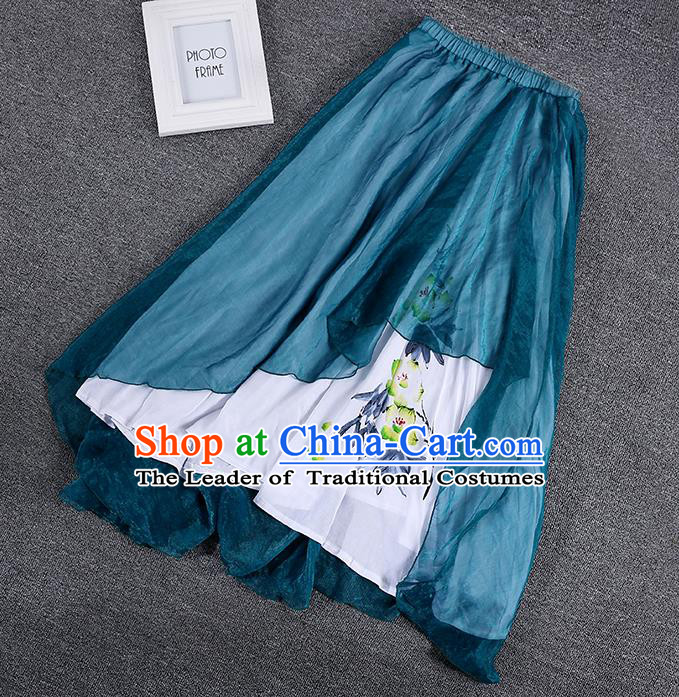Traditional Chinese National Costume Pleated Skirt, Elegant Hanfu Printing Chiffon Peacock Blue Half Dress, China Tang Suit Bust Skirt for Women