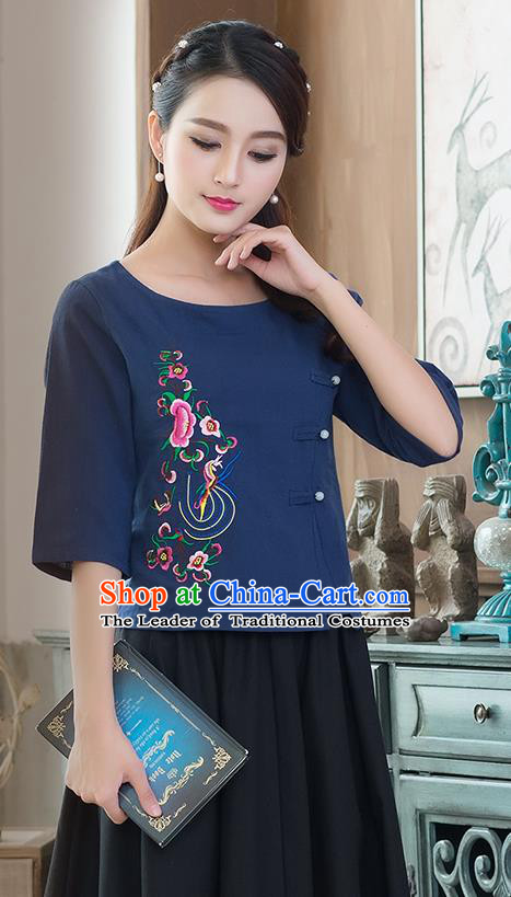 Traditional Ancient Chinese National Costume, Elegant Hanfu Linen Round Collar Embroidered Navy Shirt, China Tang Suit Blouse Cheongsam Qipao Shirts Clothing for Women