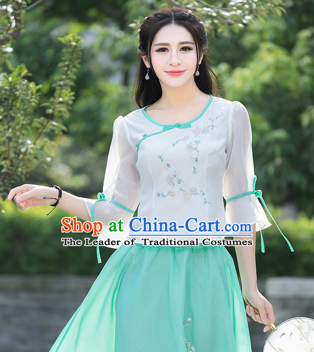 Traditional Ancient Chinese National Costume, Elegant Hanfu Chiffon Embroidered White Shirt, China Tang Suit Mandarin Sleeve Blouse Cheongsam Qipao Shirts Clothing for Women
